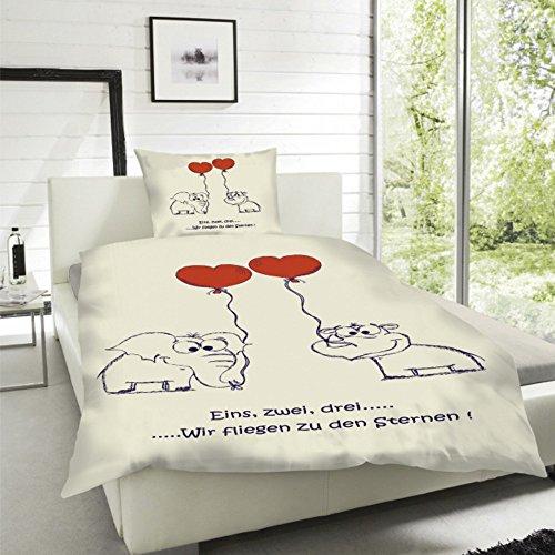 *Wende Bettwäsche Mikrofaser Herzen Love Herz Liebe Partner Sweet Kissen Married, Größe:135 x 200 cm*