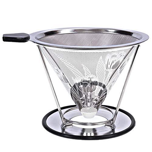 TODAYTOP Heute 2-4 Tasse Korb Kaffeefilter Wiederverwendbar Übergießen Kaffeefilterkegel Kaffeetropfer Doppelter, geteilter Kaffeefilter aus Edelstahl (Kaffee 4 Korb Tasse Filter)