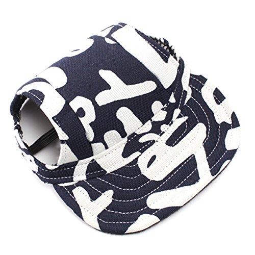 (UEETEK Haustier Hund Baseball Cap Mütze Oxford Stoffmütze mit Ohr-Löcher für kleine Hunde - Größe S (blau + weiß))