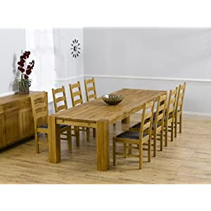 Venice solid oak furniture extending xl dining table 8 Valencia chairs set