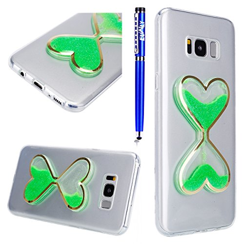 FESELE Coque Galaxy S8,Housse Etui pour Samsung Galaxy S8,Transparent Cristal Gliter Sparkle Coque Liquide Sables Housse Etui Créatif Désign Love Coeur d'Amour Hourglass Sablier TPU Coque Bling Paille Vert