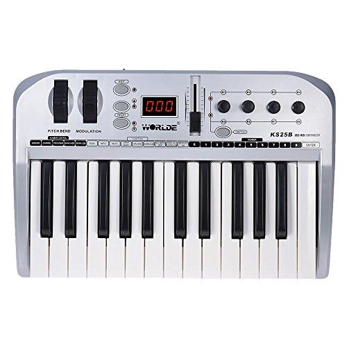 ammoon KS25B 25-Tasten Portable USB-MIDI-Tastatur-Controller mit USB-Kabel