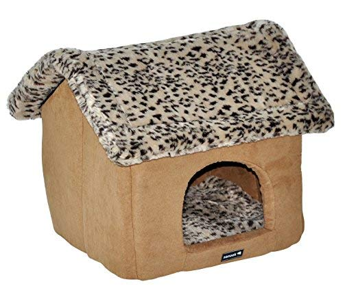 nanook Hundehöhle Katzenhöhle Hundebett Katzenbett Leo - M - 44 cm - braun/Leopard - Weicher Schaumstoffboden- Aufbau per Reißverschluss