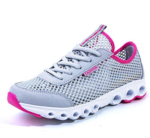 Men's Mesh Breathable Light Running Shoes grey rose