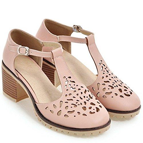 TAOFFEN Femmes Sandales Mode T-strap Cut-out Bloc Talons Moyen Chaussures 614 Rose