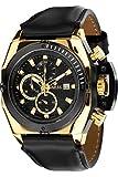 LOUIS XVI Herren-Armbanduhr De Custine Gold Schwarz Chronograph Analog Quarz echtes Leder Schwarz 557