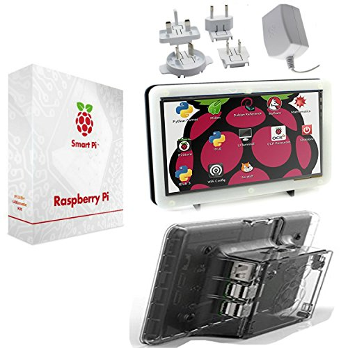 SmartPi Raspberry Pi 3 touchscreen kit- 17,8 cm touchscreen e custodia con ufficiali Pi 3 alimentatore trasparente Transparent