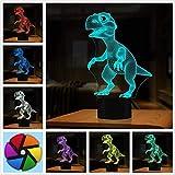 Lampe Illusion 3D, cadeaux de dinosaures jouets Décor LED Night Light Lampe 7 couleurs tactile USB alimenté parti décoration lampe,pour les cadeaux d'anniversaire de Noël