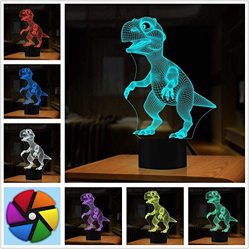 3D Illusion Lampe, Dinosaurier Geschenke Spielzeug Decor LED Nachtlicht Lampe 7 Farben Touch Control USB Powered Party Dekoration Lampe, 3D Visual Lampe