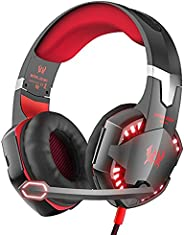 KOTION EACH G2000 PC Game Headset, Over-Ear Headphones with Microphone, Noice Canceling, LED Light, Surround S