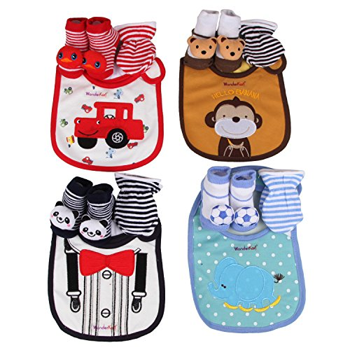 WonderKart Cute & Adorable Baby Bibs, Booties & Mittens Combo Set - (Pack of 1 Combo Set) Color/Print may Vary