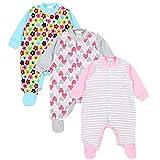 TupTam Unisex Baby Schlafstrampler Baumwolle 3er Pack, Farbe: Mädchen, Größe: 56