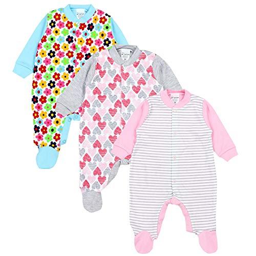 TupTam Unisex Baby Schlafstrampler Baumwolle 3er Pack, Farbe: Mädchen, Größe: 80