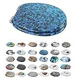 1PLUS Premium MDF Toilettensitz WC-Sitz mit Absenkautomatik und verzinkten Scharnieren in Verschiedenen Designs (Blaues Mosaik)