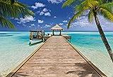 Fototapete BEACH RESORT 368x254 cm Steg am tropischen Strand mit Palmen und Boot