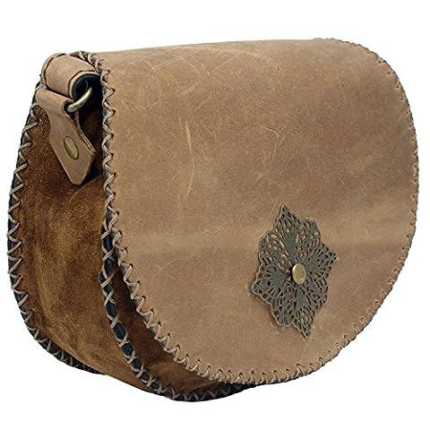 Koson Leather Braun Handgefertigte Schulter Handtasche Messenger Bag für Frauen