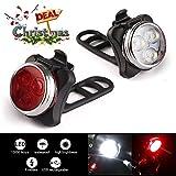 MEER LED Fahrradlampe, Fahrradlicht Wiederaufladbare Frontlicht und Rücklicht Für Fahrrad, USB Fahrradbeleuchtung Set, Wasserdichte 4 Licht-Modi 2 USB-Kabel