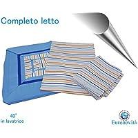 Completo biancheria da letto, Lenzuola in Cotone stampato per Letto matrimoniale, Fasciato blu 250x280 cm +2 federa 52x82 +2 federa cuscino