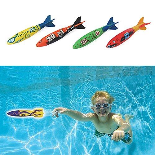 Zantec 4 Stück U Boot Torpedo Spielzeug Set Wassersport Spiel Teach Tauchen Spielzeug Geschenk für Kinder