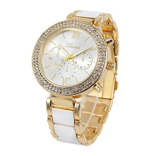 für Damen in Weiß Gold mit Metallarmband, Römische Ziffern, Analog, Quarz, Damenuhr mit Tasche (Weiß-glänzenden Geschenk-taschen)