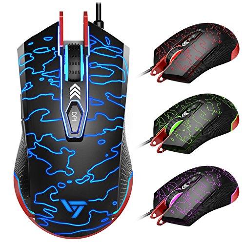 Gaming Maus, VicTsing programmierbare verdrahtete Gaming Mouse, 16,8 Millionen Hintergrundbeleuchtung, 1000Hz hochpräzise optische Mäuse mit 6 Tasten für PC, Laptop, Computer, MacBook-schwarz