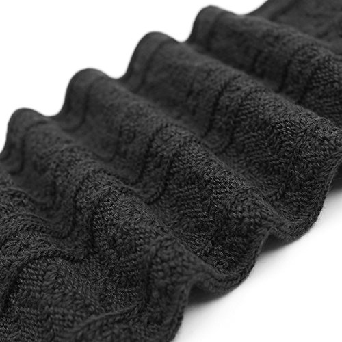 HITOP 1 Paar Damen Overknee Überknie Kniestrümpfe Mädchen Hold-up-Strümpfe Retro Schüler Knitting Sportsocken (Schwarz)