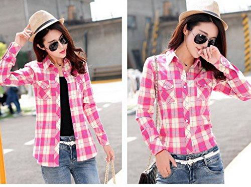 Smile YKK Chemisier Femme Manche Longue Blouse Coton Col Chemise T-shirt à Carreaux Automne Rouge