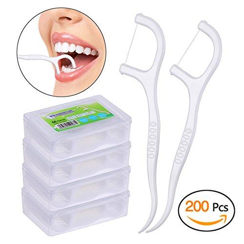 Dental Floss, KWOKWEI 200 Stück Zahnseide / Zahnstocher Stick mit Zahnstocher Halter, Weiß Zahn Draht / Zahnpflege Interdental Flossers mit Y-Form Design, Disposable Zahnseidensticks / Zahnreiniger Sticks für alle Menschen (4 x 50 Stück)