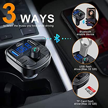 Clydek-Bluetooth-50-Auto-FM-Transmitter-drahloser-Audio-Transmitter-Adapter-Car-Kit-mit-QC30-und-Schnellladung-Typ-C-Autoradio-Audio-Adapter-MP3-Player-Untersttzung-Freisprecheinrichtung
