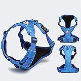 MOIMK Hundeweste Harness Einstellbar Hundewanderweste 3M Reflektierender Streifen Für Mittlere, Kleine Und Mittlere Bis Große Hunde,Blue,S