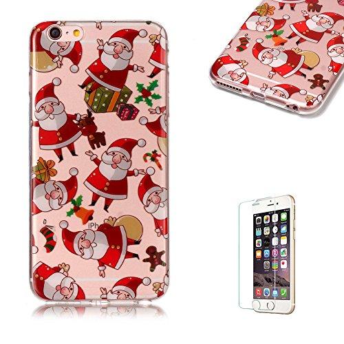 Copertura morbida del silicone TPU Per iPhone 6 Plus 5.5, Funyye Modello Natale bello Carino Disegni [Alce Modello] Brillantini Glitter Morbido Sottile Chiaro Leggero Gel Protettiva Case Flessibile D Babbo Natale