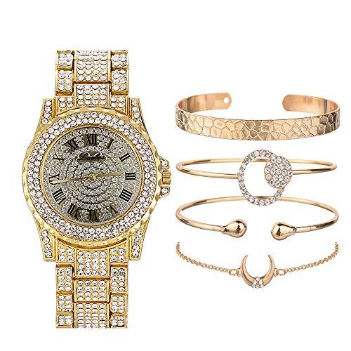 Nisake Unisex Hip HopUhrenEinstellen Iced Out Uhren mitVoller Diamant Für Frauen/Männer Bling Bling Uhren Schmuckset Geschenk für Sie/Ihn