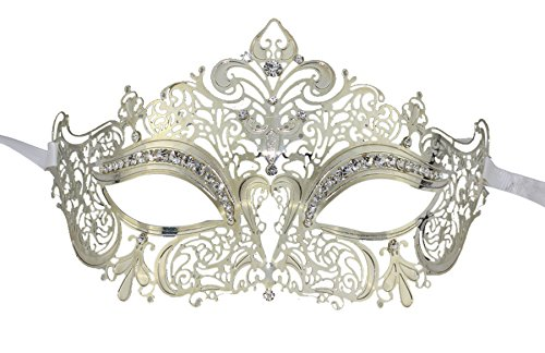 Coofit® Ballmaske Metall Laser Cut wcrystals an Augen Princess Venice (Cut Laser Masken)