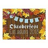 15 Einladungen zum Oktoberfest 2018/Format DIN A6, 2-seitig/Rustikaler Look - herbstlich/Einladungs-Karten zum Oktober-Fest mit Umschlägen/Garten Party