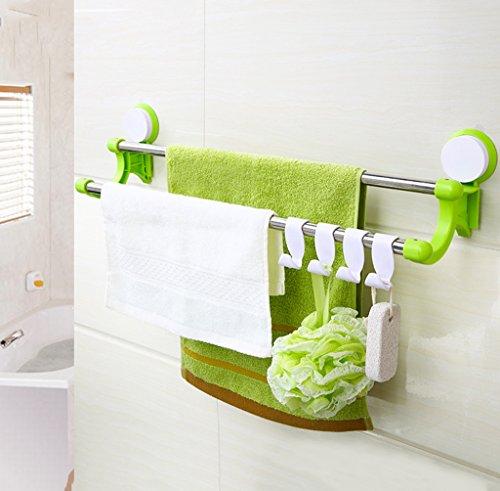 QFF porte-serviettes Sucker à double porte-serviettes de bain bar étagère rack salle de serviette libre perforé crochet en acier inoxydable (Couleur : Vert, taille : 64cm)