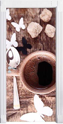 Espresso Nero tazza farfalla farfalla caffè come Murale, Formato: 200x90cm, telaio della porta, adesivi porta, porta decorazione, autoadesivi del portello
