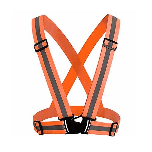 rycnet - Chaleco Reflectante de Seguridad Ajustable y elástico para Correr, Caminar, Ciclismo, Motocicleta, Deporte, Regalo de año Nuevo, Fluorescent Orange