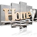 decomonkey Bilder Home 200x100 cm 5 Teilig Leinwandbilder Bild auf Leinwand Vlies Wandbild Kunstdruck Wanddeko Wand Wohnzimmer Wanddekoration Deko Haus Natur Herz