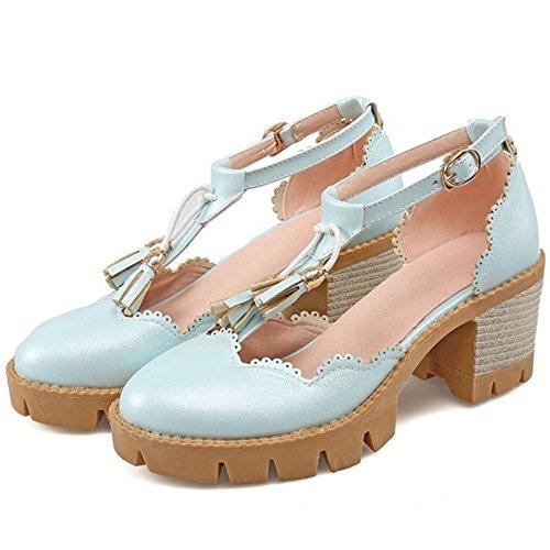 COOLCEPT Damen Mode T-Spangen Sandalen Geschlossene Blockabsatz Schuhe Mit Fransen Blau