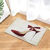 fdswdfg221 3D Digital Printing Mode Frau Dekor Rote High Heels mit Bowknot Bad Teppiche Rutschfeste Fußmatte Boden Eingänge Indoor Haustürmatte Kinder Badmatte Bad-Accessoires