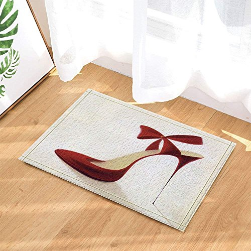 fdswdfg221 3D Digital Printing Mode Frau Dekor Rote High Heels mit Bowknot Bad Teppiche Rutschfeste Fußmatte Boden Eingänge Indoor Haustürmatte Kinder Badmatte Bad-Accessoires -