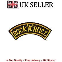 Rock n Roll de hierro sobre/para coser en parche bordado Applique bordado banda de Rock and Roll diseño de transferencia