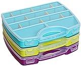 idea-station Sortimentskasten-Set 3 Stück, 25 x 20 cm, bunt, flexible Fachaufteilung, Aufbewahrungs-Box, Sortiments-Box, Sortiments-Koffer, Sortier-Box, Sortier-Kasten
