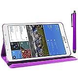ebestStar - für Samsung Galaxy Tab Pro 8.4 SM-T320 [Genaue Abmessungen Ihres Geräts : 219 x 128.5 x 7.2 mm, bildschirm 8.4''] - Hülle mit Klappe aus Kunstleder und um 360° drehbarem Ständer + Stilett, Farbe Lila