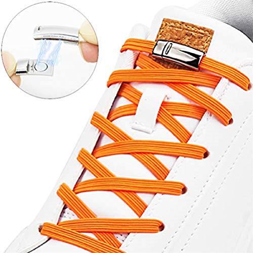 Cordones elásticos magnéticos Planos, sin Lazos, para niños y Adultos, Naranja