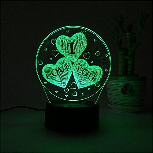 2018 Frühling ich liebe dich 3D Farbe Licht kreative Touch Fernbedienung Lampe energiesparende LED Nachtsicht Lampe Urlaub Werbegeschenke USB / Batterie Universalbeleuchtung 3D Lichter (Ich Touch Farbe)