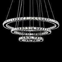 crystal ceiling light, TOPMAX LED pendant light 30 * 50 * 70 cm 3 rings crystal chrome cold white A + from TENLION