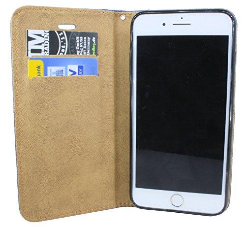 Iphone 7 PLUS // Buchtasche Hülle Case Tasche Wallet BookStyle mit STANDFUNKTION in Schwarz @ Energmix Anthrazit