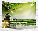 A.Monamour Wanddekor Wohnaccessoires Deko Wandteppiche Zen Meditation Idee Grün Bambus Wasser Natürliche Landschaft Drucken Umweltfreundliche Tuch Wand Hängen Tapisserie Yoga Decken 153X102cm / 60