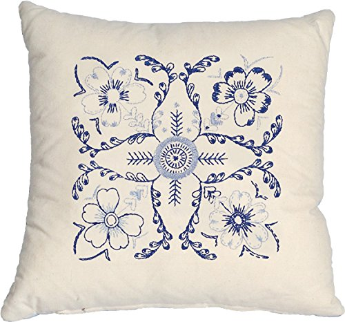Anette Eriksson Premium Kissenbezug, Blumenmuster, Blau